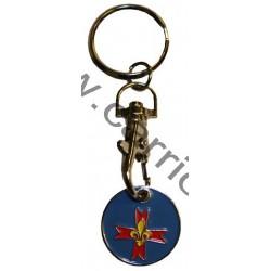 Porte clé jeton de caddie croix scoute