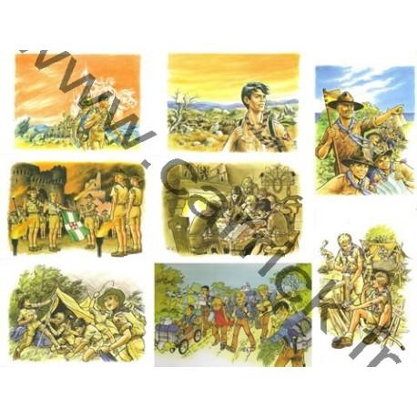 Lot de 8 cartes postales 'Vie Scoute'