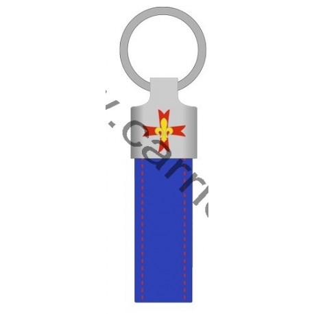 Porte clé cuir GSE BLEU