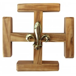 Croix Potencée en bois d'olivier