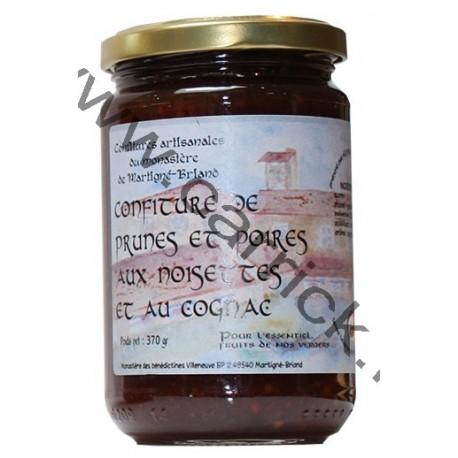 Confiture de prunes et poire aux noisettes et au cognac