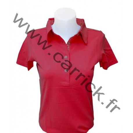 Polo VICHY femme - ROUGE