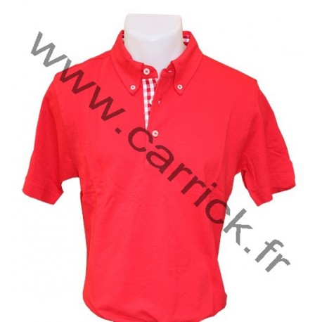 Polo VICHY homme - ROUGE